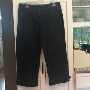 CAbi Size 8 Dark Wash Capri Crop Jeans Blue